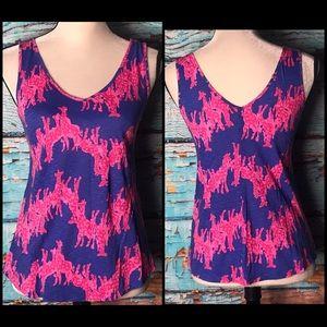 Lilly Pulitzer Blue/Pink Giraffe Print Tank Top